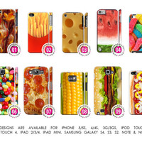 Junkfood Bacon Fries Cheese Watermelon hamburger Jellybeans Pizza Cover Case「 iPhone 5 5S 4 4S 3G 3GS iPod Touch Galaxy S4 S3 S2 Note 1 2 」