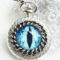 Eye pocket  watch, steampunk dragon eye pocket watch in silver