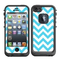 Skins Kit for Lifeproof iPhone 5 Case (skins/decals only) - Chevron Baby Blue Teal and White