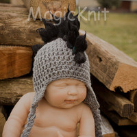 061c Mohawk Baby boy newborn size black and grey by MagicKnit