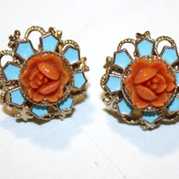Vintage Blue Enamel Coral Carved Celluloid Rose by patwatty