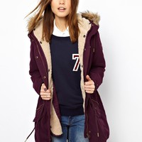 Hilfiger Denim Lined Parka With Fur Trim