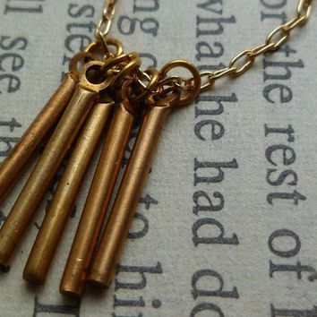 Brass sticks geometric necklace on thin gold by littlepancakes