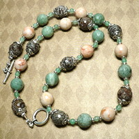 Brown Snowflake Obsidian Green Jasper and Aventurine 22 inch Necklace