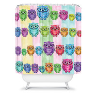 DENY Designs Home Accessories | Lisa Argyropoulos Little Hoots Stripes Multicolor Shower Curtain
