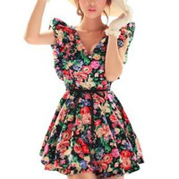 Allegra K Ladies Deep V Neck Tiered Hem Floral Mini Dress Black