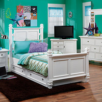 Belmar White  5 Pc Twin Poster Bedroom