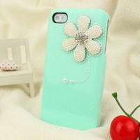 3D Bling Crystal iPhone Case for AT&T Verizon Sprint iPhone 4/4S Sunflower Baby Green