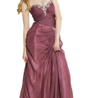 Strapless Side Gathered Sheer Organza Formal Gown MOB Prom Dress