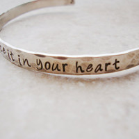 One Tree Hill inspired make a wish hand stamped silver cuff