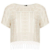 Beaded Fringe Tee - Tops  - Clothing