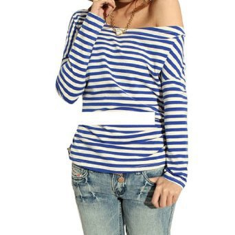 Allegra K Women Boat Neck Horizontal Striped Shirt Blue White Xs