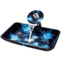 Kraus C-GVR-430-RE-10CH Boulder Opal Rectangular Glass Vessel Sink and Waterfall Faucet, Chrome