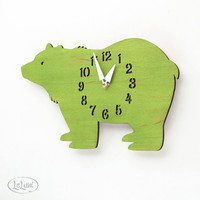 "The ""Big Bear in Lime Green"" designer wall mounted clock from LeLuni"
