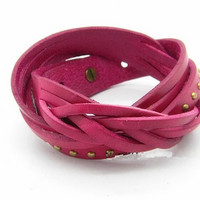 Pink Leather Rivet Wristband women's Leather Cuff  bracelet jewelry bangle, Puck Style Wrap Bracelet T037-PI