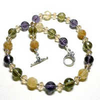 Amethyst Quartz Smoky Quartz Latte Quartz 19 inch Necklace Set