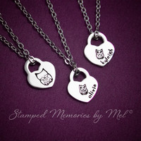 Owl Family Set - Hand Stamped Stainless Steel Heart Lock  Necklace Personalized - Mommy, Sisters, Daughter Jewelry - Owl Always Love You
