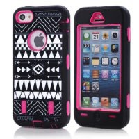 Bayke® iPhone 5C Fashion Zebra Combo Print Designer Hybrid Defender Case Silicone Black / Hot Pink