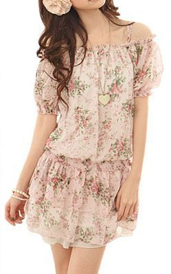 Allegra K Ladies Flower Prints Chiffon Short Sleeve Off Shoulder Mini Dress Green Pink Fuchsia S