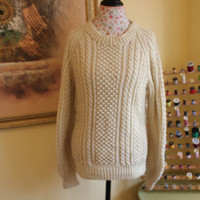 Ready to ship TODAY /Natural Gorgeous Hand Knit Handmade Cream Aran fisherman sweater Unisex/Size M to Large