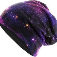 Printed Jersey beanie galaxy/black