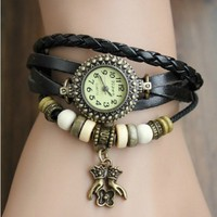 MagicPiece Handmade Vintage Style Leather Watch For Women Leather Belt Round Shape Watch with Pendant and Wooden Beads in 5 Colors: Black
