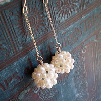 White Pearl Beaded Drops | Luulla