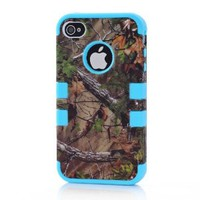 Bayke® iPhone 4 4S 3in1 Hybrid Camouflage Camo Tree Print Dirtproof Defender Case + Blue Rubber Silicone