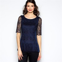 Guipure Lace Peplum Blouse with Elbow-Length Sleeves