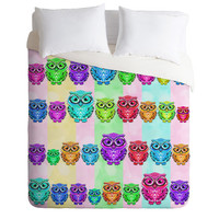 DENY Designs Home Accessories | Lisa Argyropoulos Little Hoots Stripes Multicolor Duvet Cover