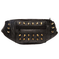 Harlett Waist Pack Spiked Leather Crossbody in Black