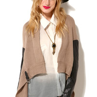 Pleather Sleeve Cardigan in Taupe