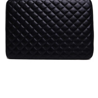 Like Dreams Large Quilted Brief Bag in Black