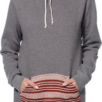 Krochet Kids Grey & Burgundy Crochet Pocket Pullover Hoodie at Zumiez : PDP