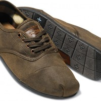 Brown Waxed Twill Men's Cordones