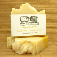 Cold Process Soap with Cocoa Butter Lemon Scented Natural Bath Bar