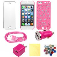 (TRAIT) 7in1 Pink For iPhone 5 back case bird's nest Protector covers for apple iphone5 +Mini Car Charger + USB Data Charger Cable +AC Wall charger adaptor +small cloth+1*button sticker+Screen protector for iphone 5