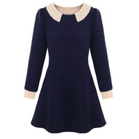 Long Sleeve Spell Pearl Collar Slimline Tops Tiny Dress Navy