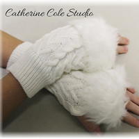 fingerless gloves texting gloves womens gloves  fur trimmed fingerless knit  gloves arm warmers SNUGGLE LOVE cream Catherine Cole Studio FG1