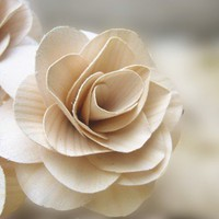 Wood Roses - Birch Wood Shavings - Rustic - Creamy White | AccentsandPetals - Wedding on ArtFire