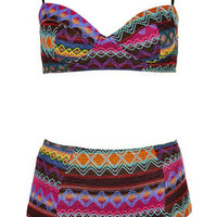 Multicolour Embroidered Aztec Bikini - Swimwear  - Clothing