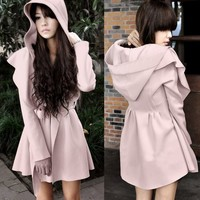 Korean Womens Long Sleeve Lapel Hooded Trench Coat Outwear Jacket Waistband 6933