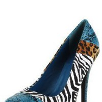 System41x Patched Animal Printed Pumps TEAL