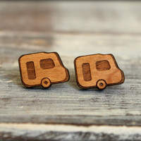 Retro Camper Studs, Laser Cut Wood Earrings