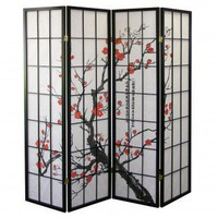ORE Four Panel Room Divider with Plum Blossom Design in Black - R5428-4 - Room Dividers - Decor