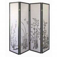 ORE Four Panel Room Divider with Floral Design in Black - R590-4 - Room Dividers - Decor
