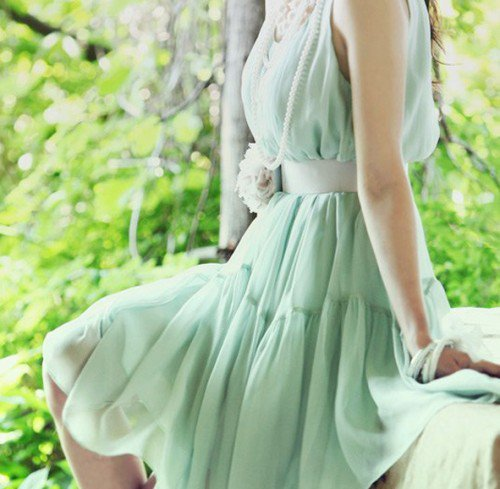 Minty Green Fairy. Feminine Chiffon Mint Sleeveless Dress. Summer | GlamUp - Clothing on ArtFire