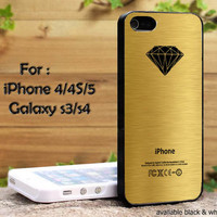 diamond supply logo gold print iPhone 4, iPhone 4s, iPhone 5, Samsung Galaxy S III, Samsung Galaxy S IV Case