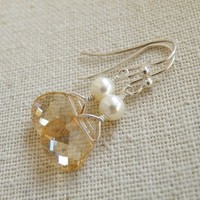 Swarovski Crystal Faceted Champagne Briolette Wire Wrapped Sterling Silver Dangle Earrings - Bella E11 Bridesmaid Jewelry Wedding Jewelry