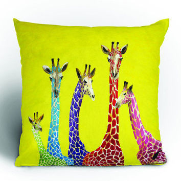 DENY Designs Home Accessories | Clara Nilles Jellybean Giraffes Throw Pillow